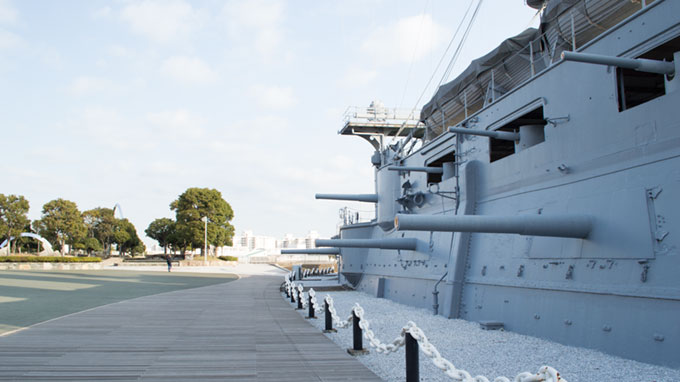 戦艦三笠の舷側